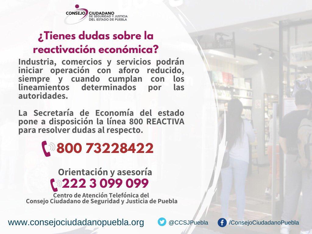 Te orientan por teléfono si tienes dudas sobre reapertura en Puebla