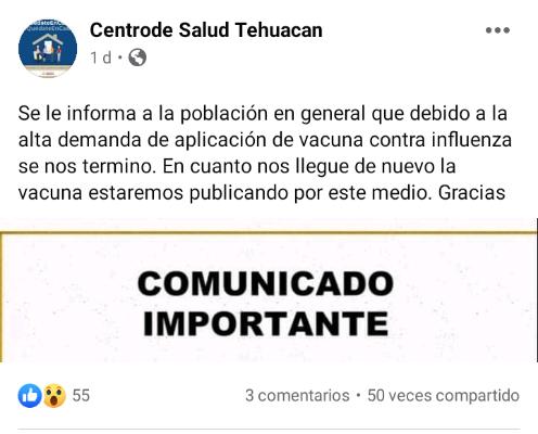 Se agota vacuna contra la influenza en Centro de Salud de Tehuacán