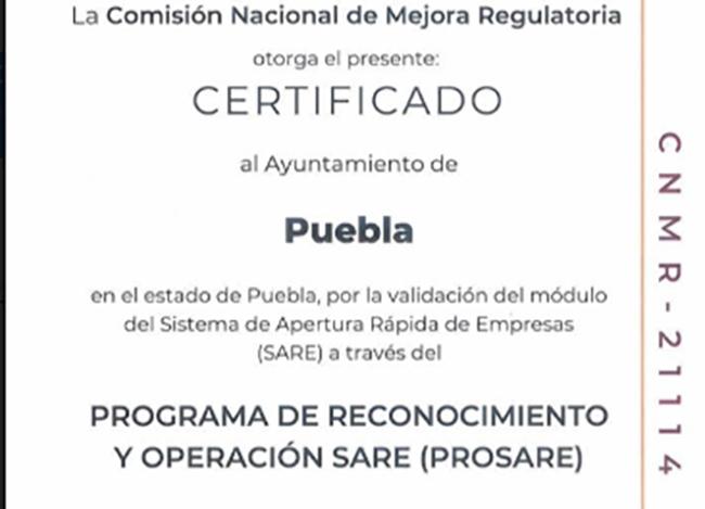 Recibe Puebla capital certificado para apertura rápida de empresas