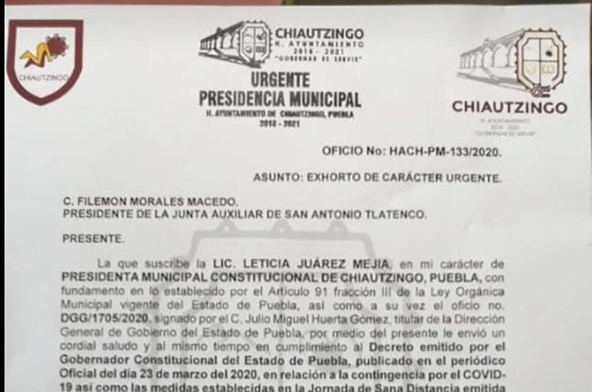 En  Chiautzingo multarán a quien no respete la cuarentena