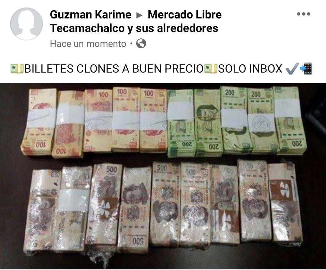 En redes sociales hacen fraude con billetes falsos en Tecamachalco