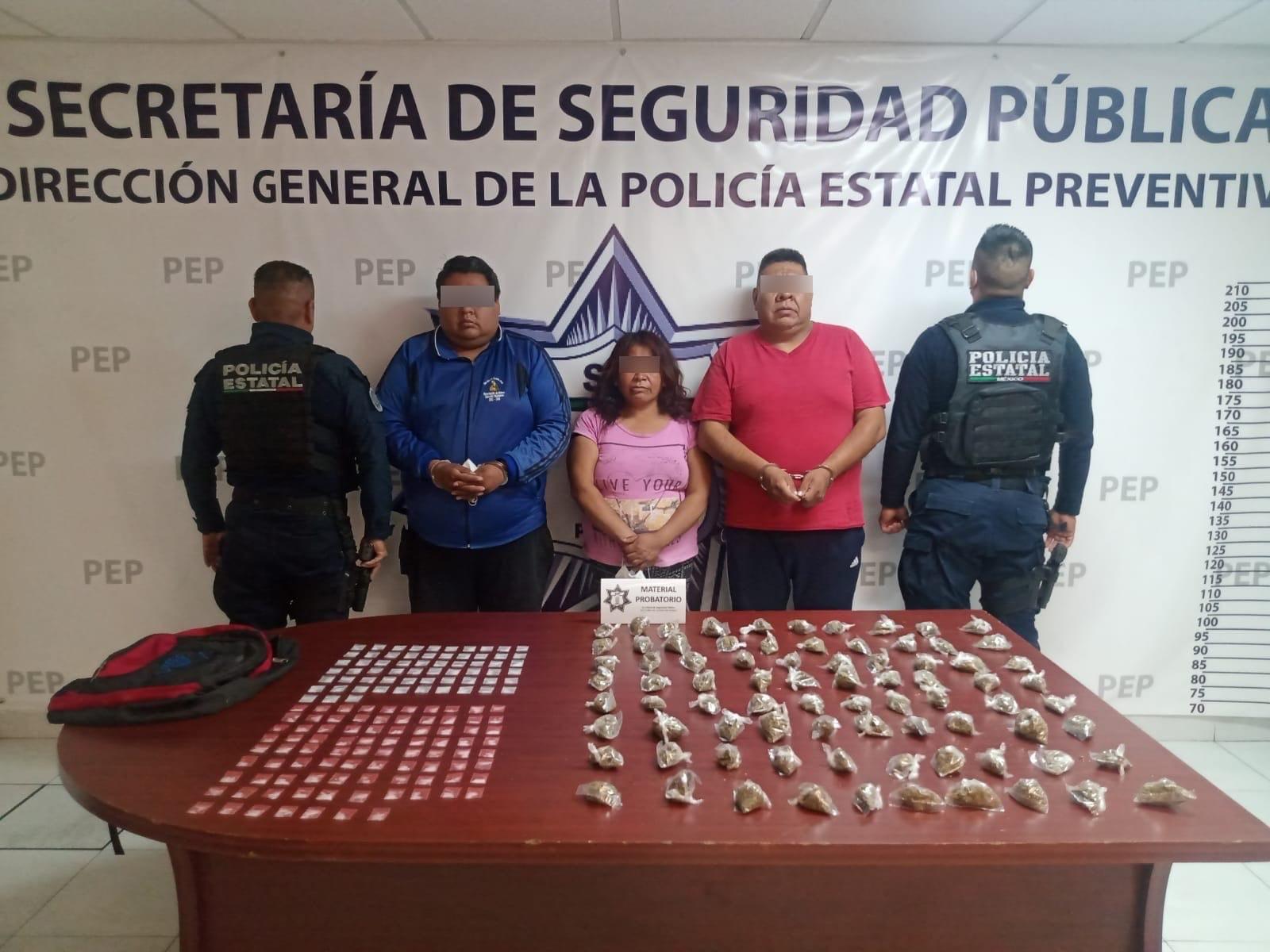 Detiene a integrantes de Los Cuerudos con 230 dosis de droga en Xoxtla