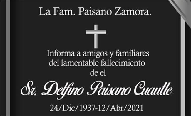 Fallece padre del ex edil de San Andrés Cholula, Leoncio Paisano