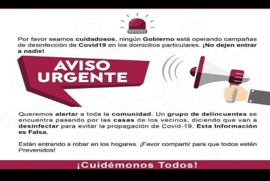 Alertan sobre desinfecciones falsas de covid para robar en Atlixco