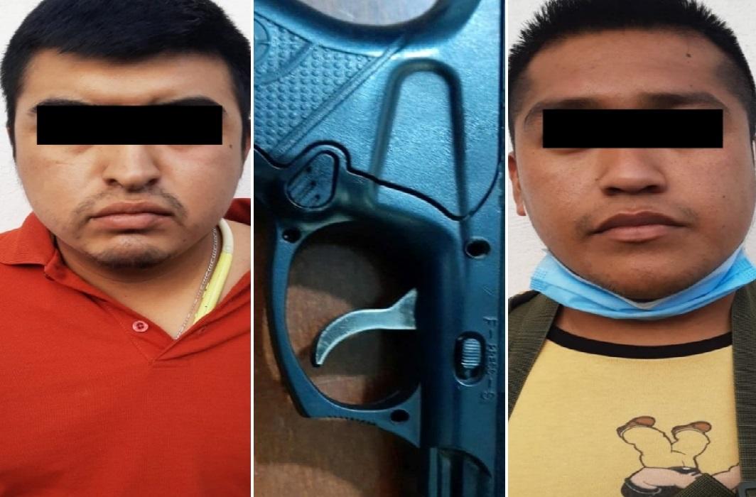 Caen dos sujetos con pistola en zona comercial de Tehuacán