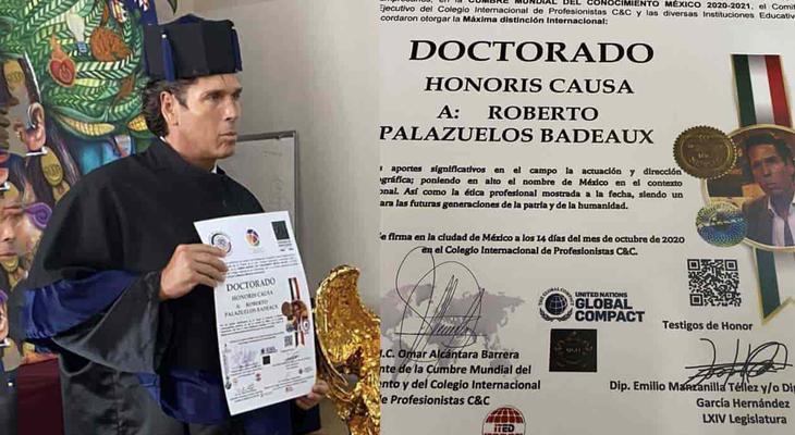 Reacciones a favor y en contra por doctorado a Roberto Palazuelos