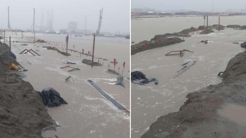 Fuertes lluvias inundan Dos Bocas, refinería de AMLO, en Tabasco