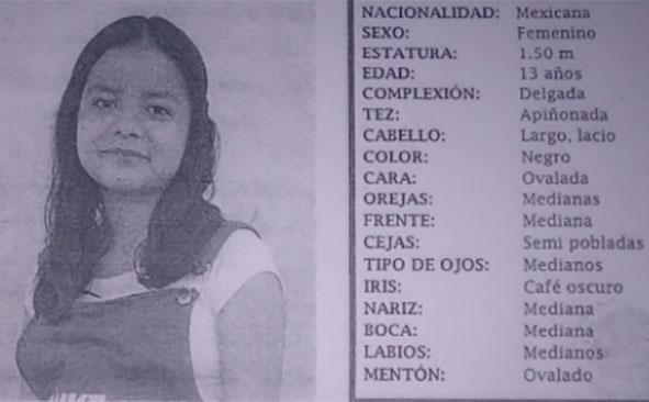 Desaparece Edith de 13 años en Huejotzingo