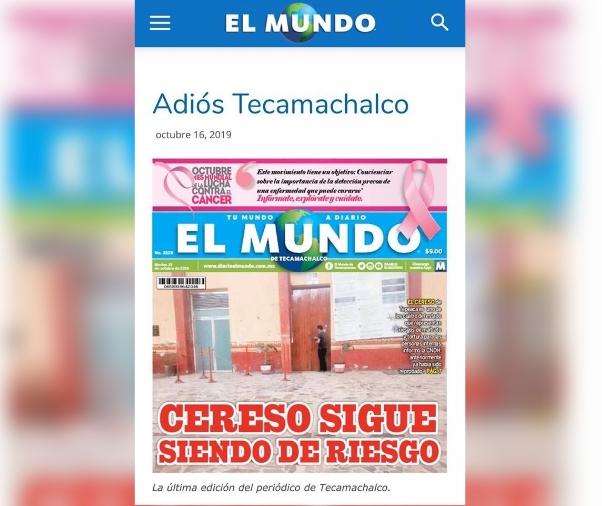 Cierra Periódico El Mundo de Tecamachalco ante inseguridad