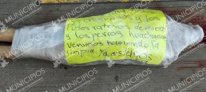 Con cadáver envuelto en plástico, anuncian limpia de huachigaseros en Tepeaca