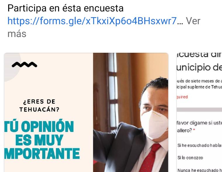 Con encuesta en redes sociales miden popularidad del edil suplente de Tehuacán