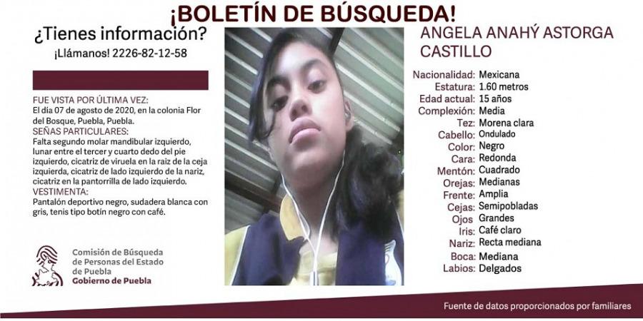 Angela, de 15 años, desapareció en Flor del Bosque