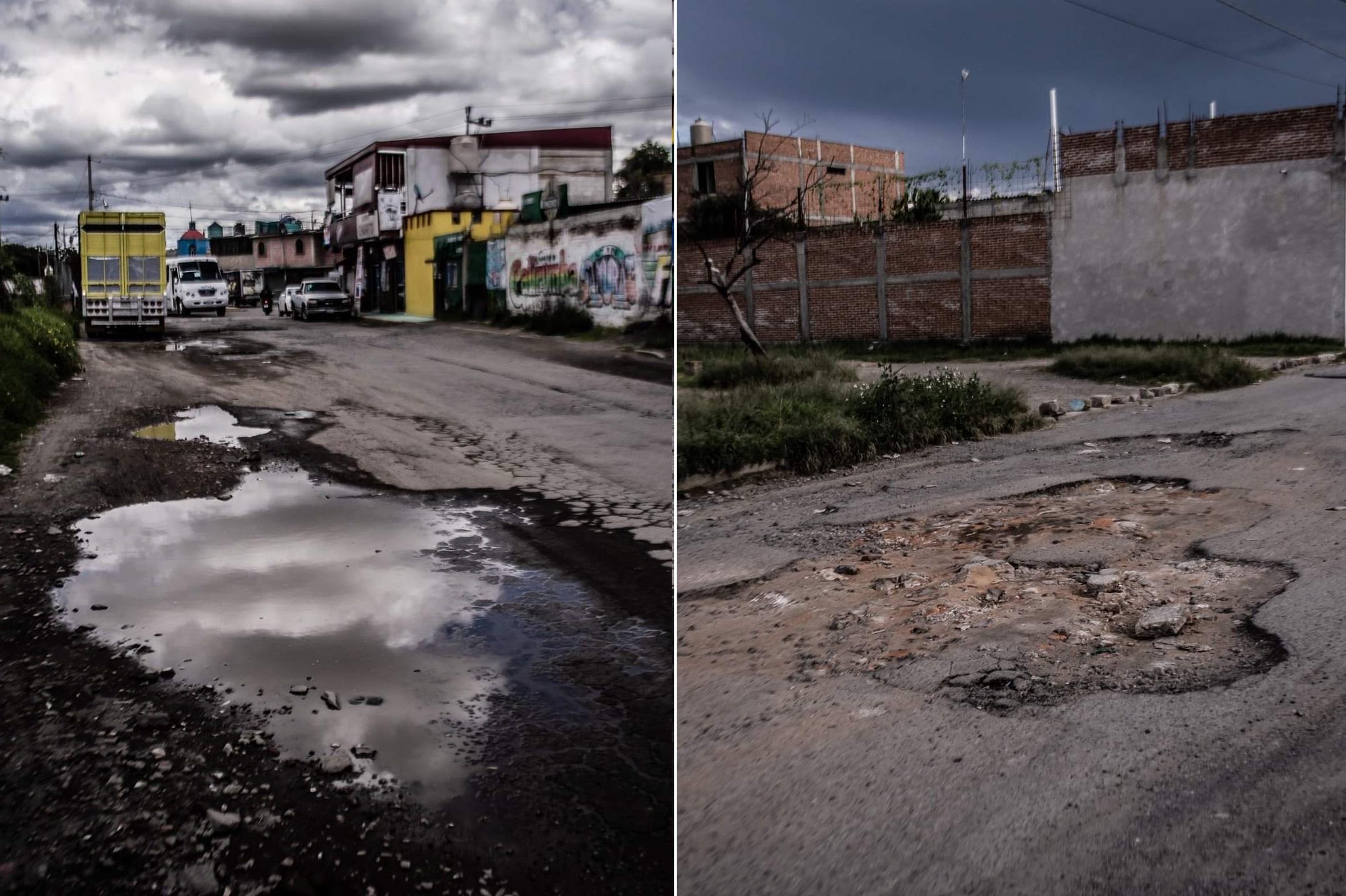 Exhiben calles destrozadas por baches en Huejotzingo