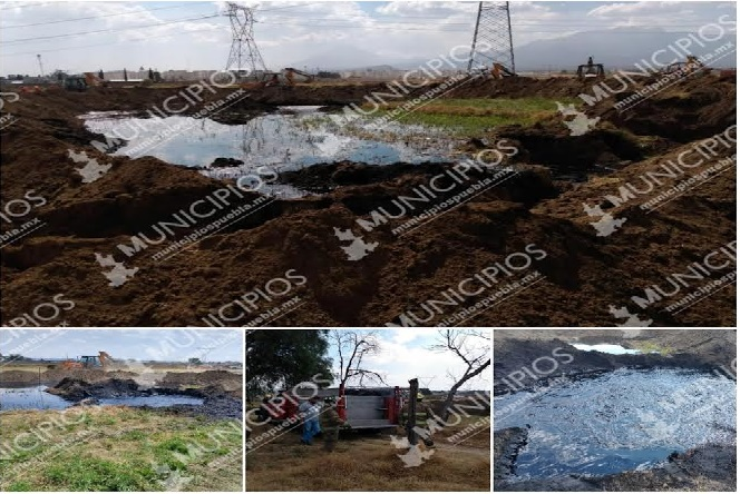 Gran fuga de petróleo pone en alerta a San Martín Texmelucan