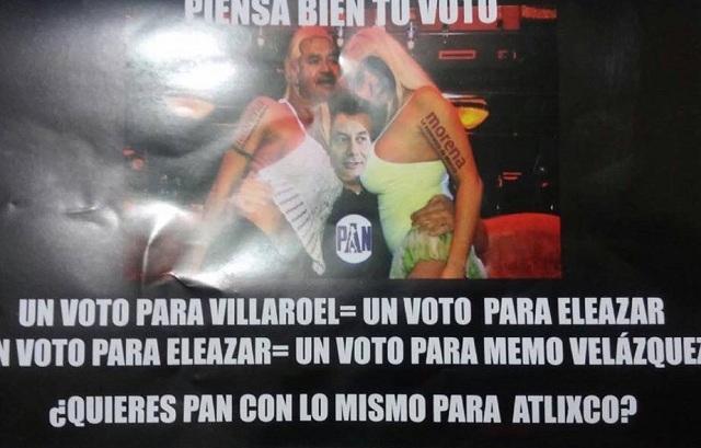Tapizan Atlixco con propaganda negra contra PAN y Morena