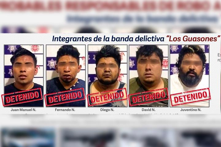Los Guasones se enfrentan con policías municipales de Huejotzingo