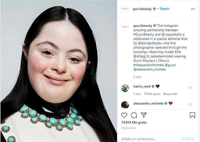 Modelo con síndrome de Down realiza campaña para Gucci