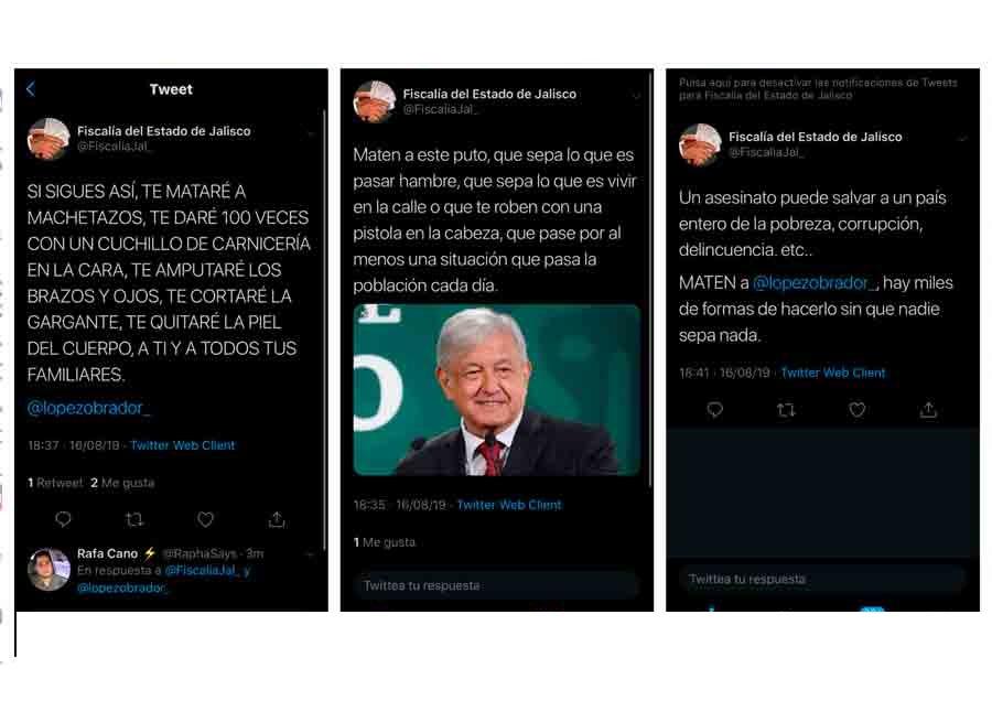 Hackean twitter de la Fiscalía de Jalisco y amenazan a AMLO