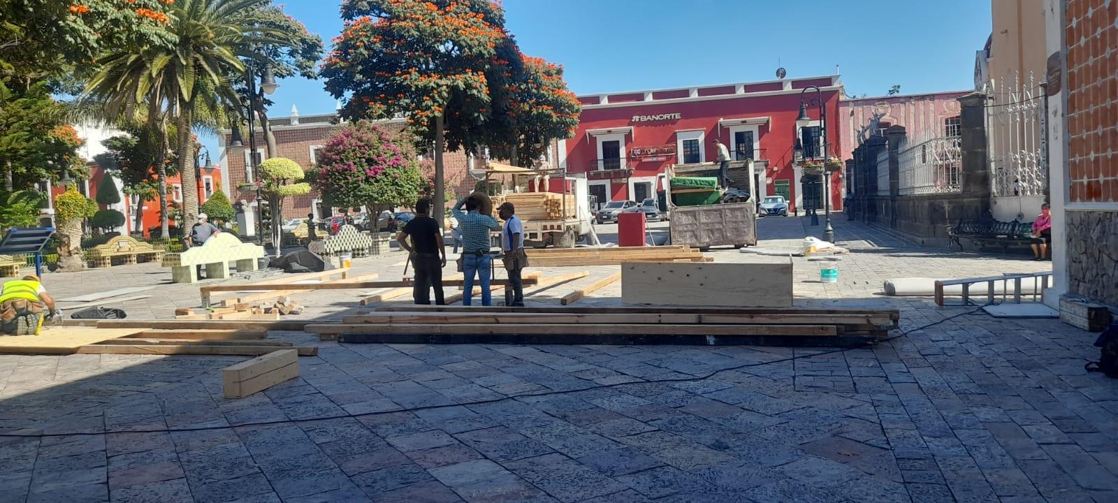Comienzan preparativos para toma de protesta de Ayala en zócalo de Atlixco