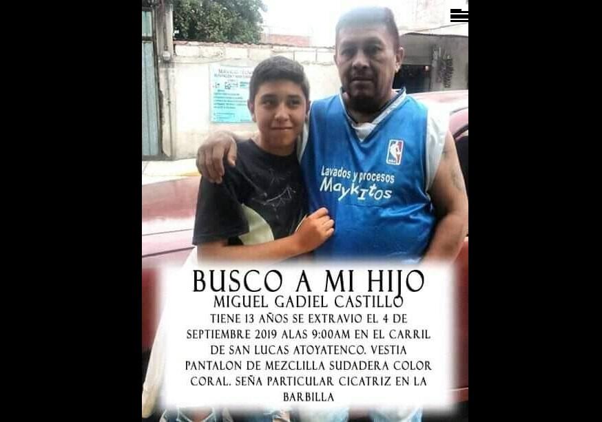 Miguel, de 13 años, desapareció en Texmelucan