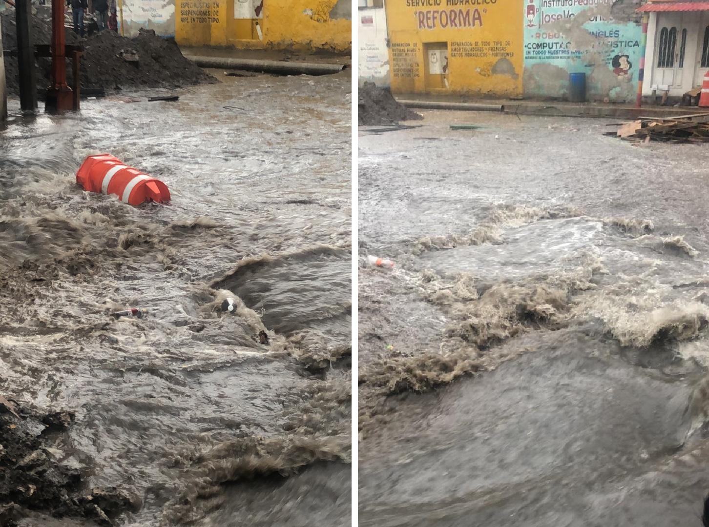 VIDEO Lluvias inundan calles y viviendas de Texmelucan