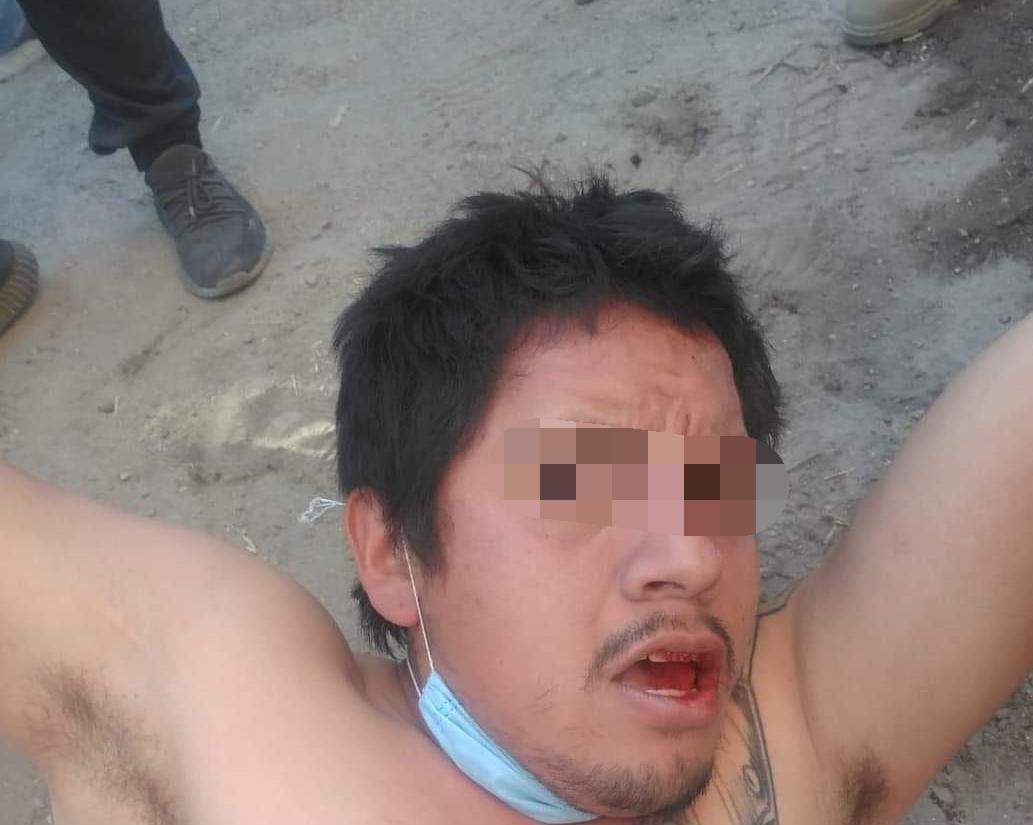 Vecinos aseguran y golpean a presunto ladrón en Texmelucan