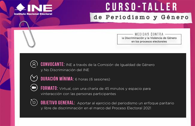 INE invita a reporteros poblanos al taller virtual sobre periodismo y género