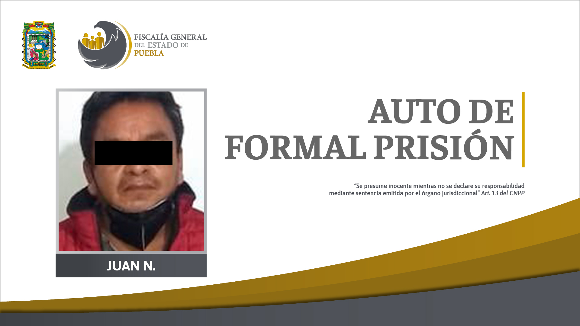 Auto de formal prisión contra acusado de homicidio en Huehuetla