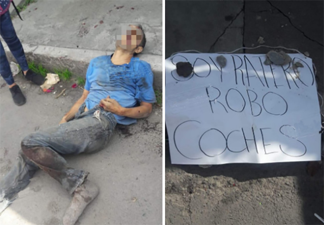 Linchan a robacoches y dejan mensaje en La Loma, Puebla