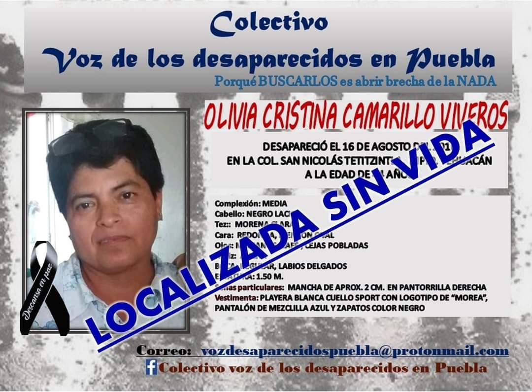 Tras 5 años de estar desaparecida en Tehuacán, localizan sin vida a Olivia Cristina