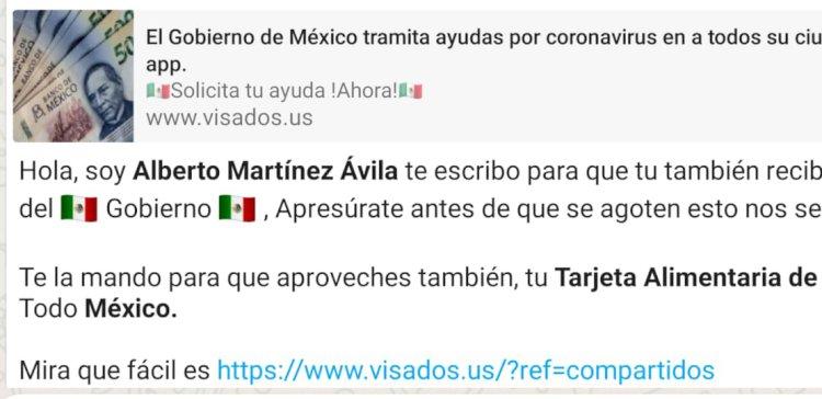 Roban datos por WhatsApp ofreciendo apoyos de gobierno en Tehuacán