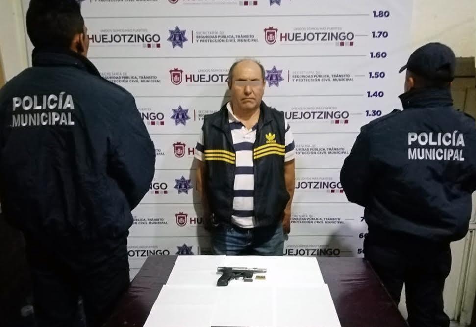 Lo detienen por portación ilegal de arma en Huejotzingo