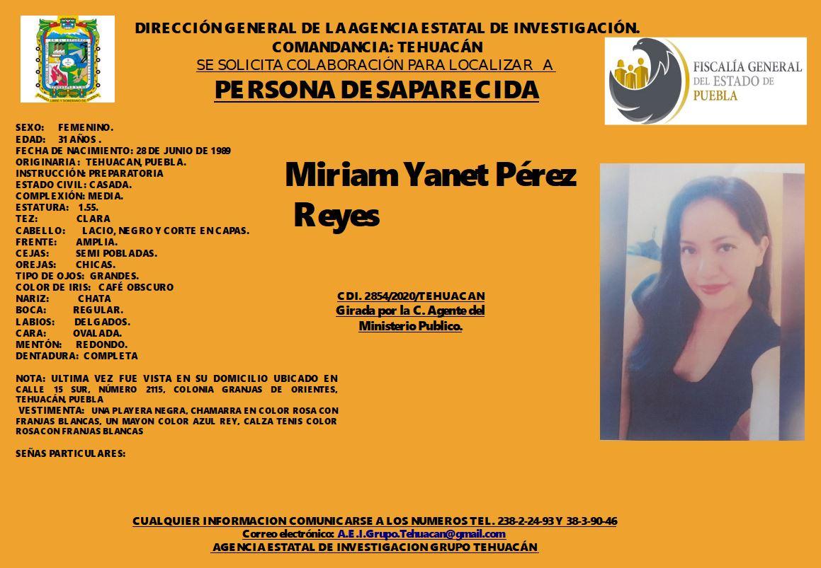 Miriam Yanet desapareció en Tehuacán desde 17 de septiembre