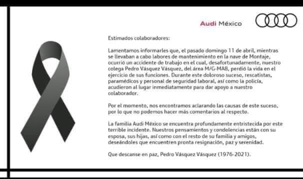 Muere trabajador de la empresa AUDI en el área de montaje
