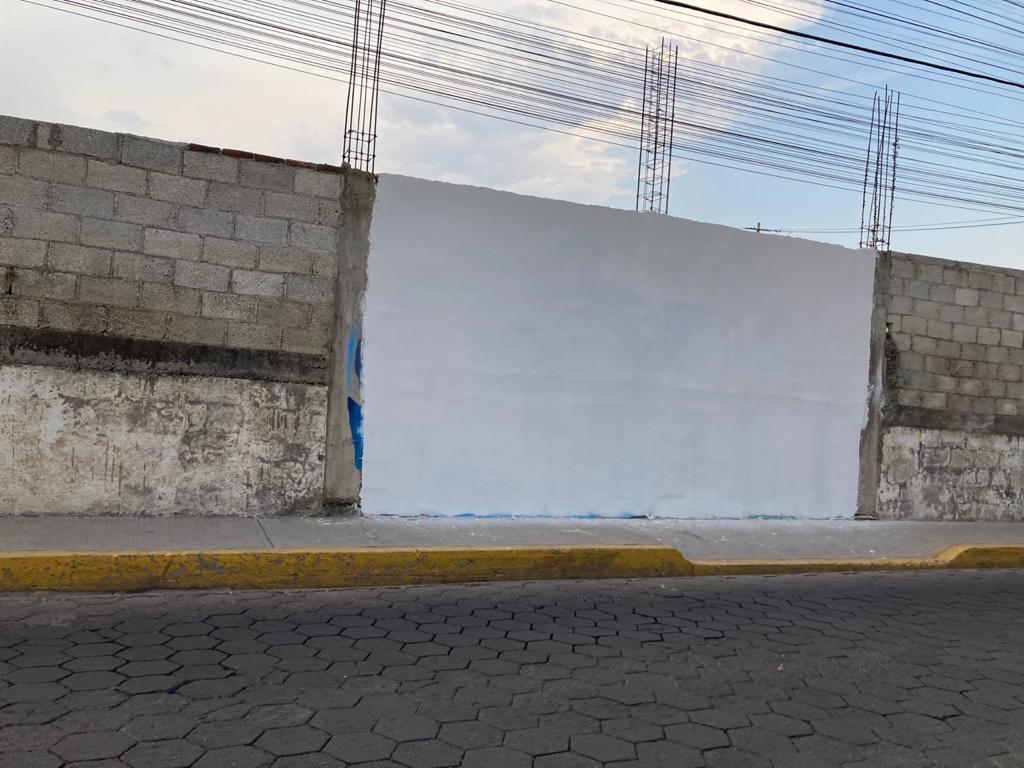 Borran mural elaborado por candidato a diputado del PES en San Andrés Cholula