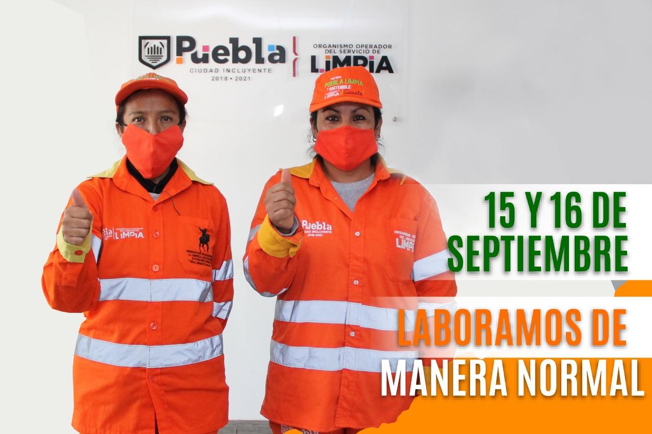 Habrá servicio de limpia durante festejos patrios en el municipio de Puebla