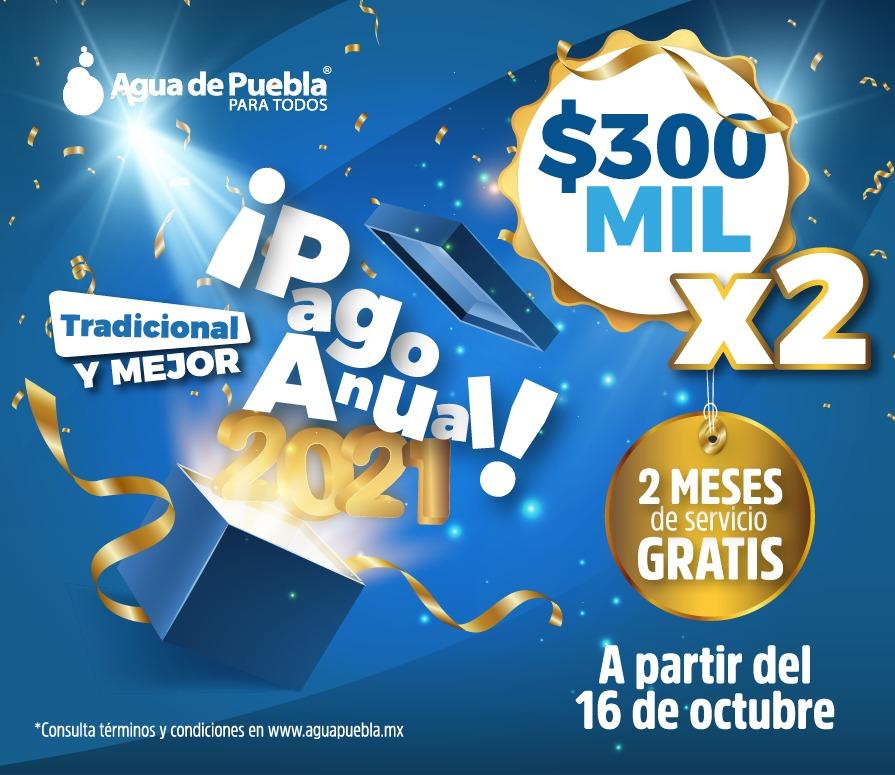 Agua de Puebla invita a participar en el Pago Anual Anticipado 2021