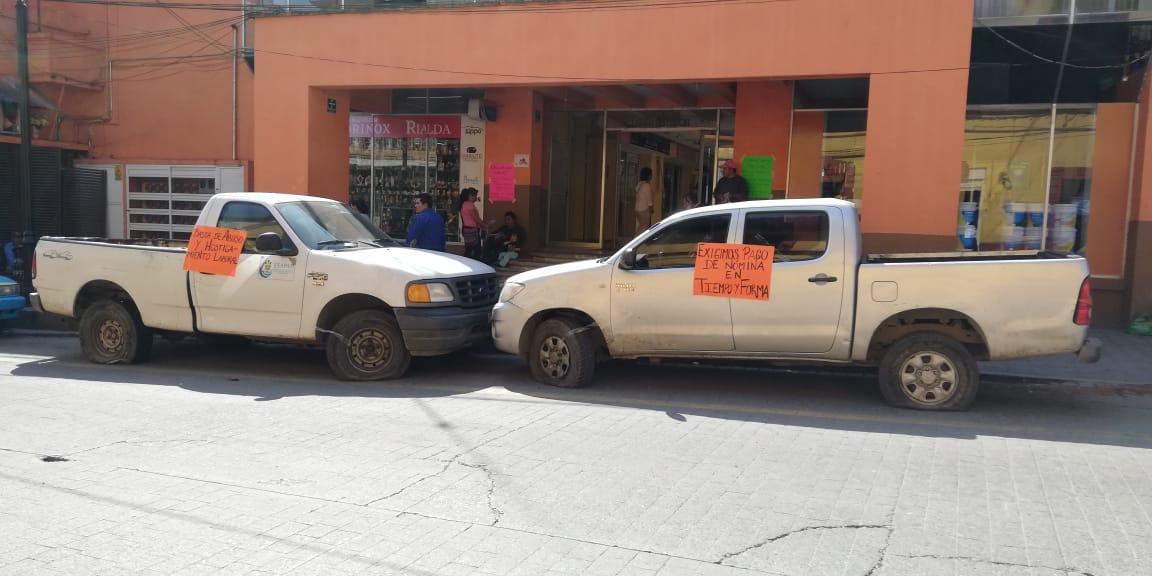 Trabajadores del ESAPAH realizan paro laboral