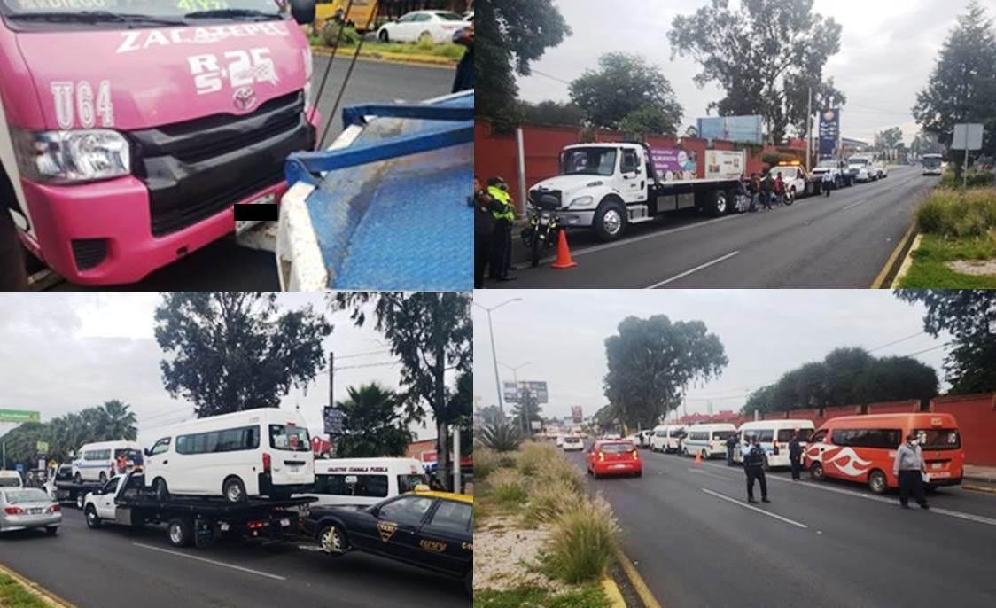 Detiene SMT 12 unidades irregulares en San Pedro Cholula
