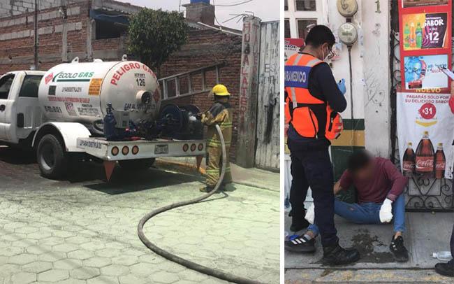 Por flamazo en pipa de trabajadores resultan quemados en San Andrés Cholula