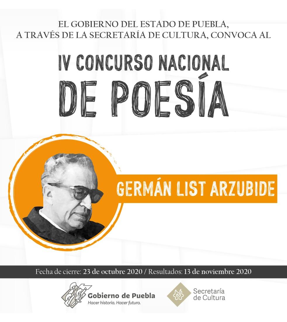 Convoca Secretaría de Cultura de Puebla a concursos nacionales de poesía