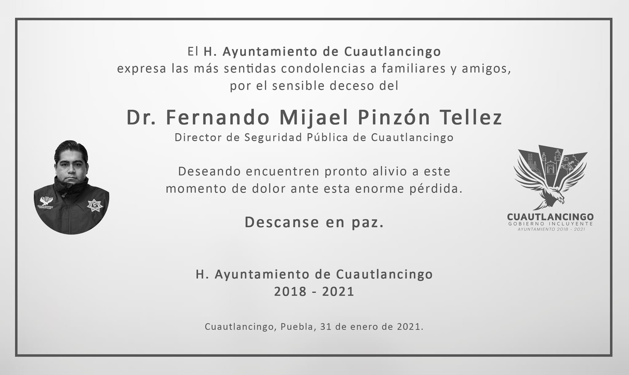 Fallece por Covid director de policía en Cuautlancigo