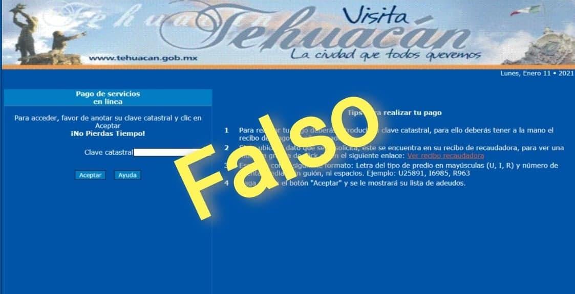 Alertan autoridades de Tehuacán sobre portal falso para cobro del predial