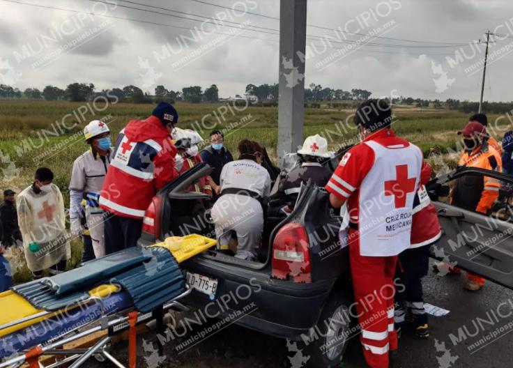 Hombre queda prensado sobre bulevar Aeropuerto en Huejotzingo