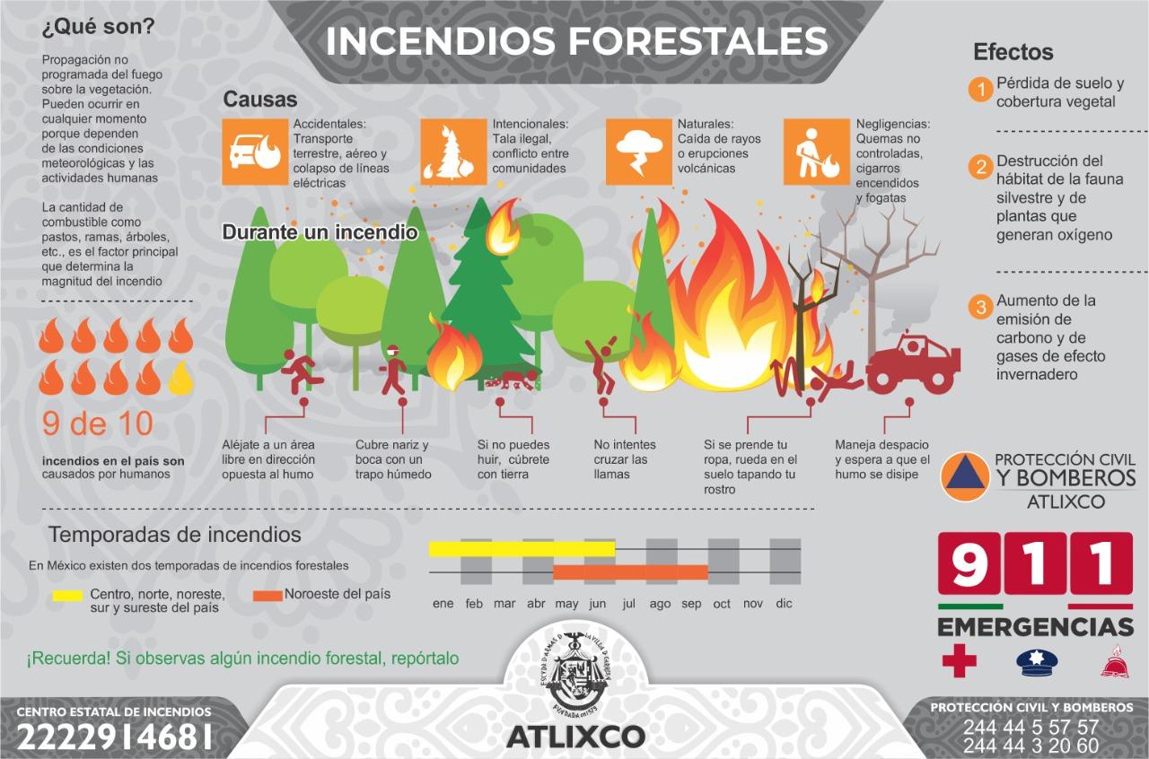 Emite Protección Civil de Atlixco recomendaciones para evitar incendios forestales