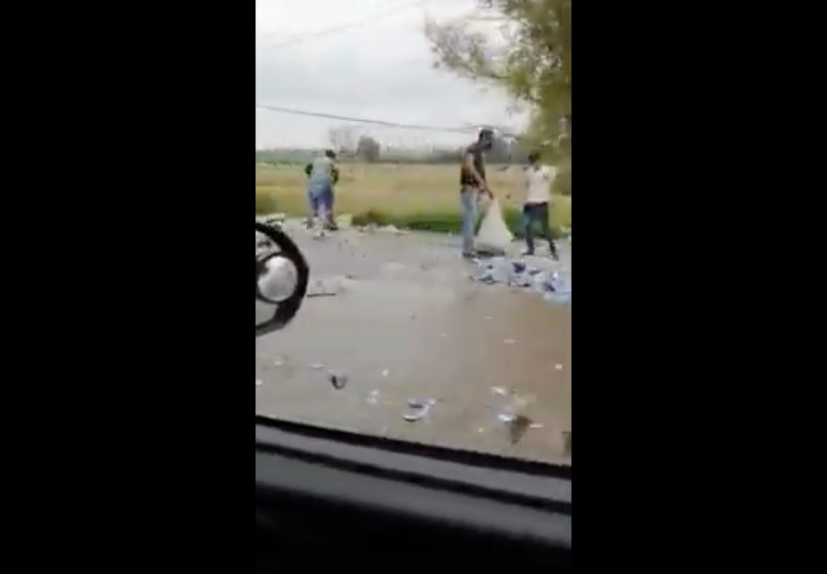 VIDEO Vuelca tráiler con latas de cerveza y Guardia Nacional no puede evitar rapiña