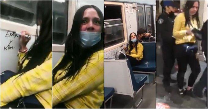 VIDEO La llaman LadyRayones por pintarrajear vagones del metro