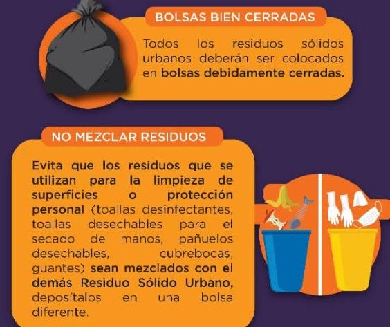 Recomendaciones para manejar residuos durante contingencia