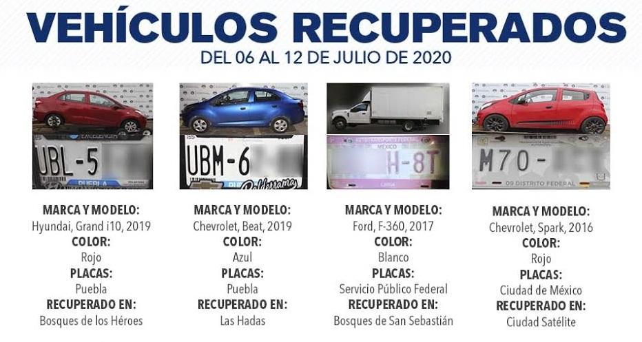 Recuperan en la capital poblana 15 vehículos relacionados con robo