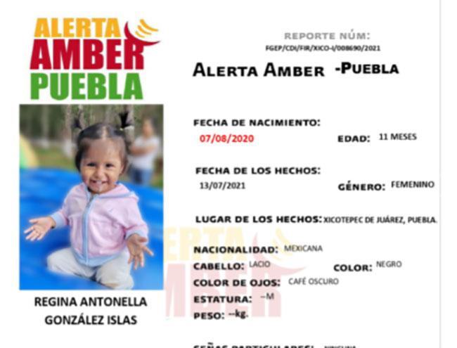 Activan Alerta Amber para localizar a bebé desaparecida en Xicotepec